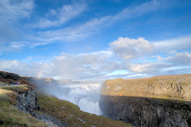 Beauty In Nature Cloud Cloud - Sky Flowing Flowing Water Geology Gullfoss Iceland Iceland_collection Landscape Nature Non-urban Scene Physical Geography Power In Nature Remote Rock Rock - Object Rock Formation Scenics Sky Tourism Tranquility Travel Destinations Water Waterfall