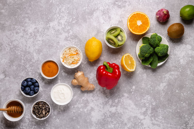 High angle view of chopped fruits on table
