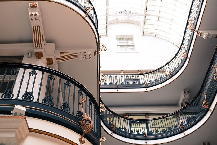 Architectural Feature Architecture Art Deco Art Deco Architecture Building Story Built Structure Indoors  Modern No People Railing Railings Spiral Staircase Steps Steps And Staircase
