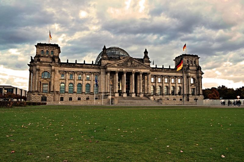 Architecture Cultures City Building Exterior Travel Destinations Built Structure Cloud - Sky Grass Sky Outdoors Day No People Brandenburg Germany Reichstag