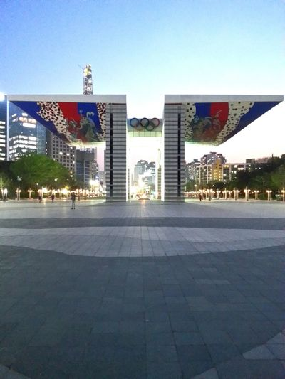 Olympic Games Olympic Park Seoul South Korea Songpa Gu 1988 Jamsil Jamsil Tower World Peace Gate Sunset