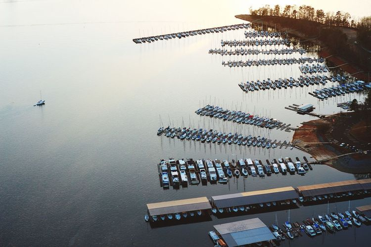 Aerial View Of Marina At Sunset
