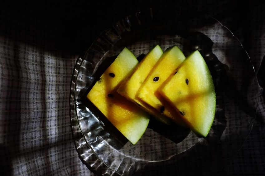 Close-up Cut Out Day Directly Above Food Food And Drink Freshness Fruit Healthy Eating Healthy Food High Angle View Indoors  No People Plate SLICE Still Life Watermelon Yellow