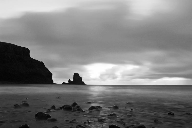Scotland Beach Beauty In Nature Cloud - Sky Horizon Over Water Isle Of Skye Nature No People Outdoors Rock - Object Rock Formation Scenics Sea Sky Talisker Bay Tranquil Scene Tranquility Water First Eyeem Photo
