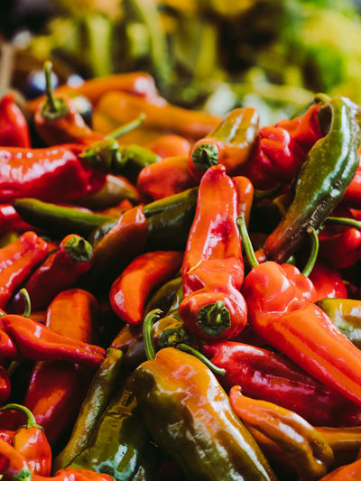 Close-up of red chili peppers for sale in market