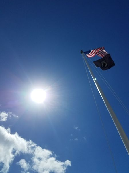 🇺🇸 USA Flag Patriotism Blue Sky Low Angle View Wind Flying Outdoors Day DontTreadOnMe Red White Blue 🇺🇸 Navy Funeral Ceremony Stars And Stripes Veteran Pearl Harbor USS Oklahoma Repatriation Sunlight Cloud - Sky Landscape Architecture