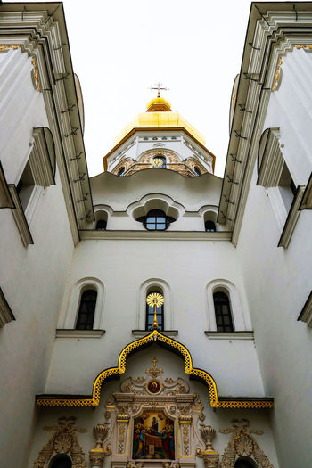 Assumption Cathedral of Kiev Pechersk Lavra Arch Architecture Bottom View Building Exterior Built Structure Dome Façade Historical Low Angle View No People Orthodox Outdoors Religious Architecture Religious Icons Window Symmetry Architectural Feature