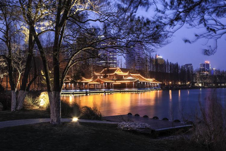 Illuminated trees by lake against sky at dusk