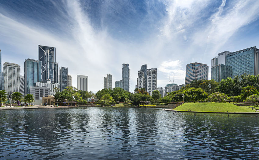 Panoramic view of lake and buildings against sky