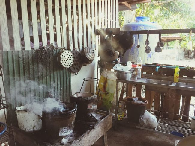 Kitchen Kitchen Thailand Day Container Metal Water Old No People Outdoors Kitchen Utensil Architecture Household Equipment