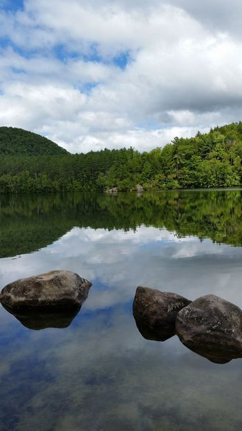 Beauty In Nature Nature Cloudscape Illusion New England  Water Reflections Nature Walk White Mountain National Forest Mirror Lake, Nh Lake New Hampshire, USA Outdoors Scenic View Landscapes Forest Trees Granite Full Length Discover  Countryside Summer Perspectives On Nature