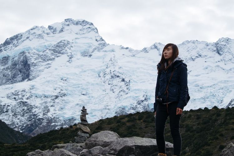 FUJIFILM X-T1 Mountain Real People Snow Leisure Activity Standing One Person Beauty In Nature Winter Nature Mountain Range Cold Temperature Mature Women Lifestyles Snowcapped Mountain Casual Clothing Rock - Object Front View Scenics Young Women Full Length