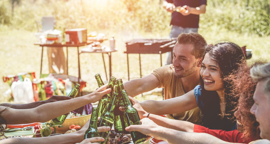 Friends Celebrating During Garden Party