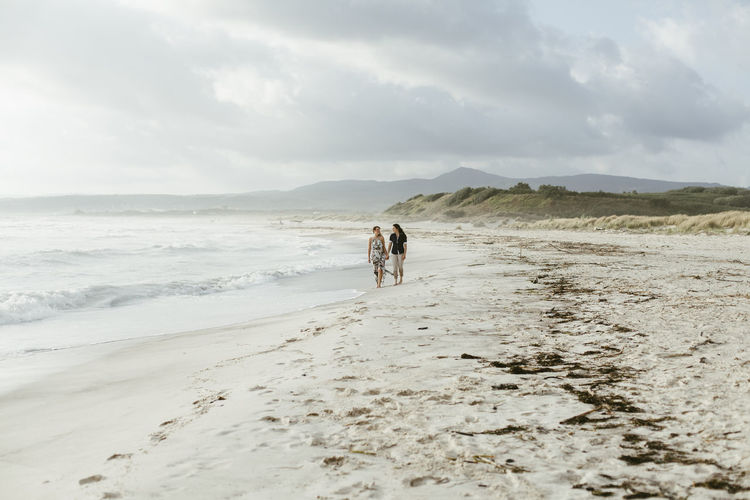 Lesbian Couple Walking At Beach