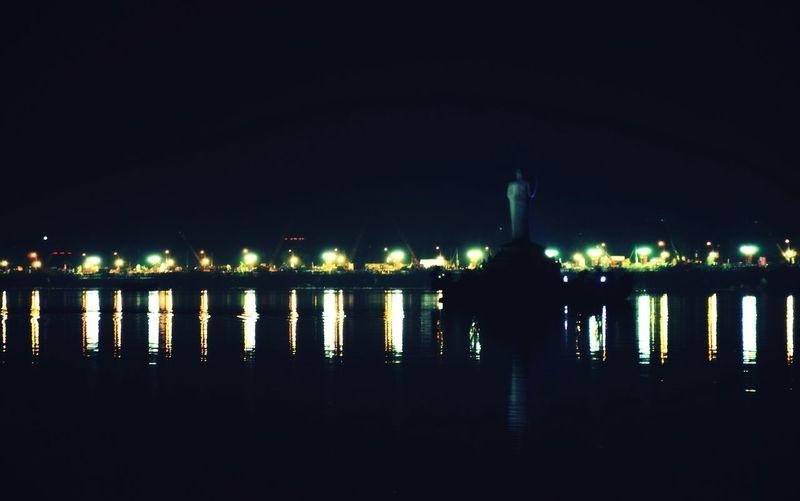 Lit up in the night Tank Bund Standing Tall Buddha Hyderabad