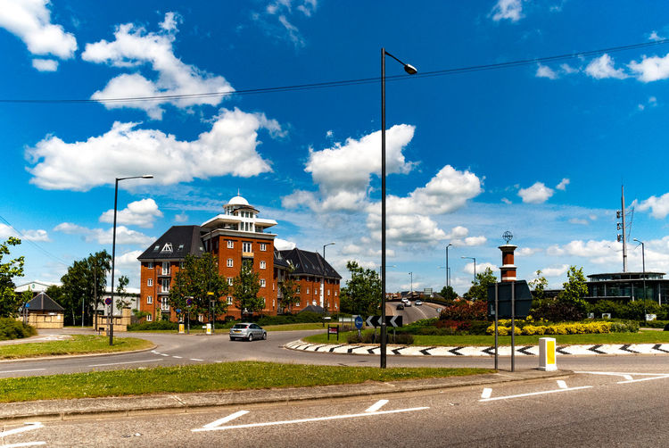 The Hythe area of Colchester. Historically the dockland area of Colchester, before the River Colne silted up. Modern Architecture Building Exterior Built Structure City Cloud - Sky Day Detached House No People Outdoors Road Roundabout Sky Street Street Light Telephone Line Transportation Tree