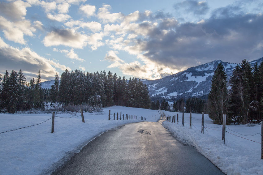 Allgäuer Alpen Road Wintertime Beauty In Nature Cloud - Sky Cold Temperature Day Landscape Mountain Nature No People Outdoor Photography Outdoors Road Scenics Sky Snow The Way Forward Tranquil Scene Tranquility Transportation Tree Weather Winter Winter Wonderland