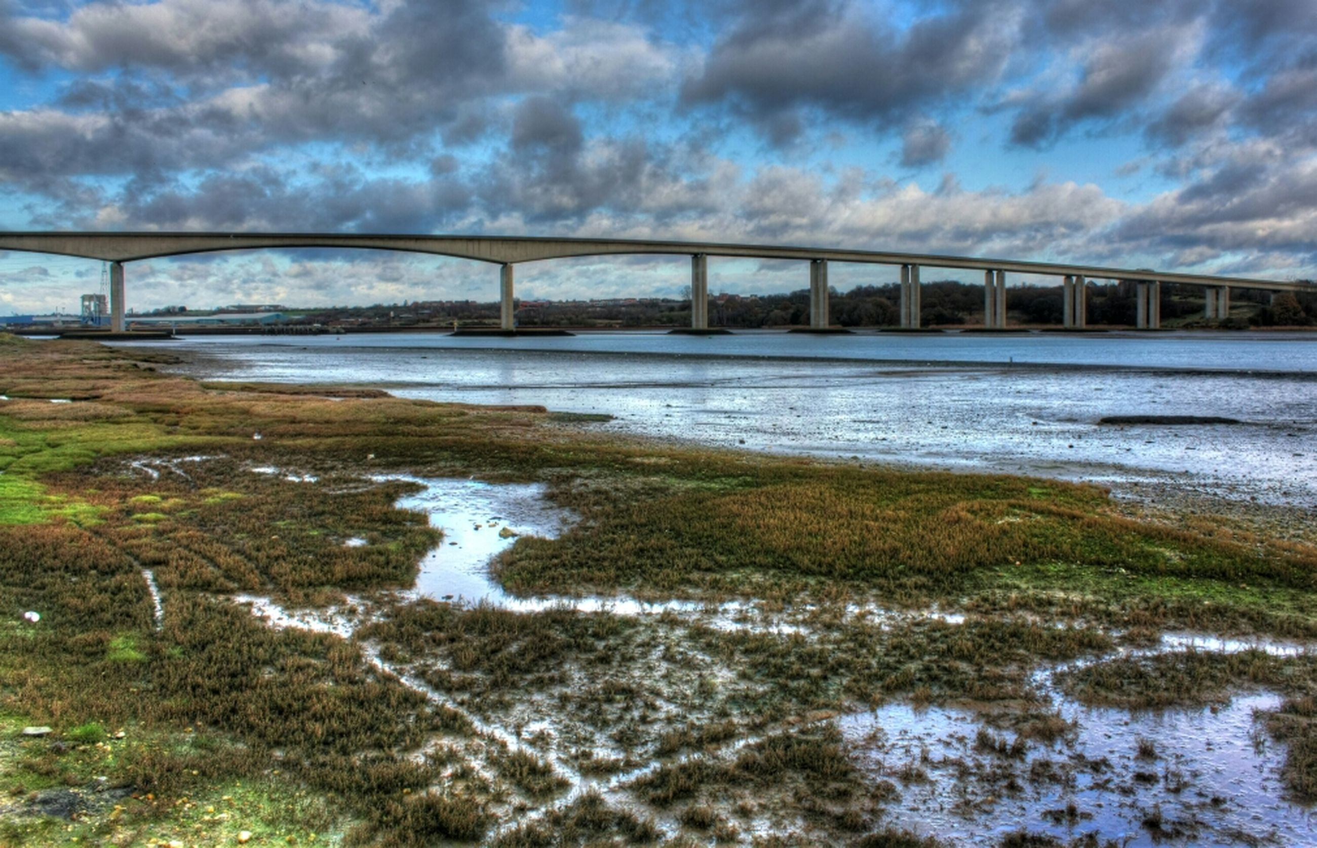 sky, cloud - sky, cloudy, connection, bridge - man made structure, water, cloud, river, built structure, architecture, weather, nature, railing, bridge, tranquility, engineering, day, scenics, tranquil scene, overcast