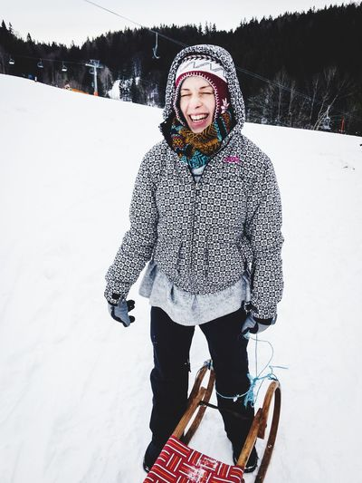 happy smiling girl with sledge in the snow Snow Sports Happy Weekend Cold Weather Woman Power Mountains Sledge Sleigh Tobogganing Toboggan EyeEm Selects Snow Winter Cold Temperature White Color Warm Clothing Lifestyles Real People Leisure Activity Smiling Happiness Standing Portrait Nature Shades Of Winter Love Yourself