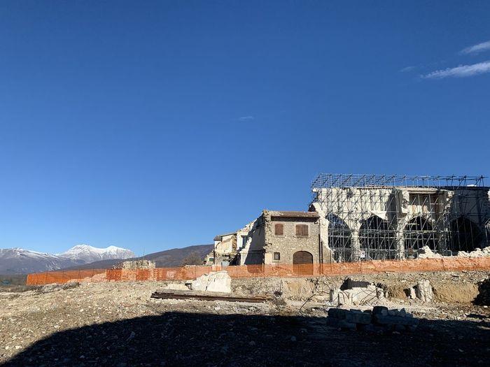 Old building against blue sky