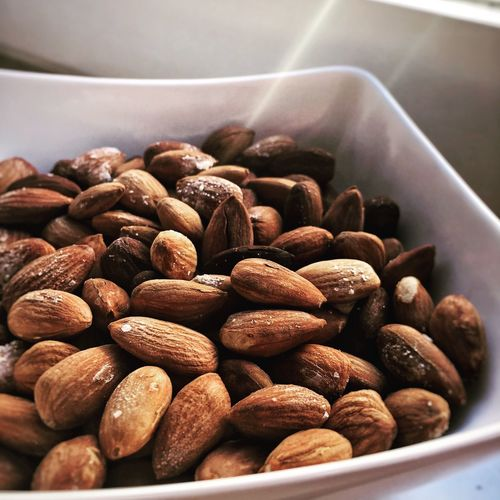 Close-Up Of Almonds In Bowl