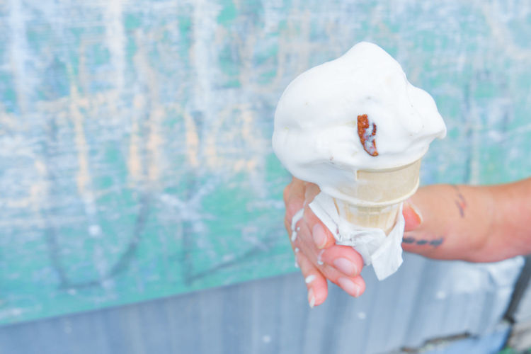 The Foodie - 2019 EyeEm Awards Human Hand Ice Cream Frozen Food Ice Cream Cone Flavored Ice Cold Temperature Dessert Men Holding Business Finance And Industry Frozen Sweet Food Ice Cream Parlor Melting