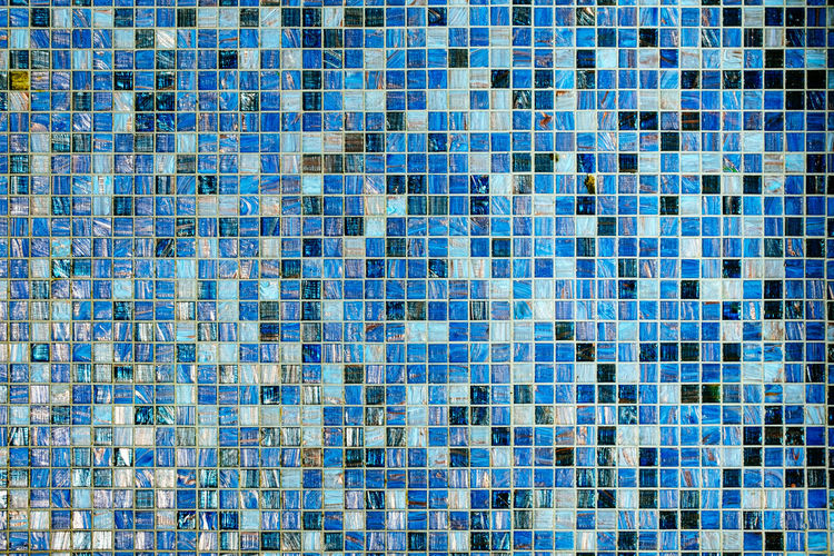 Abstract full frame texture shot of blue mosaic tiles