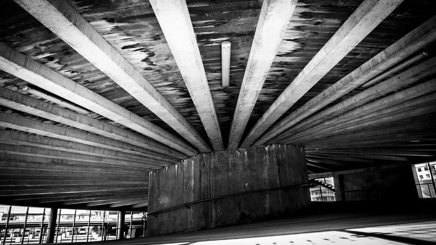 Architectural Column Architecture Bridge Bridge - Man Made Structure Built Structure Ceiling Connection Curve Day Girder Indoors  Low Angle View Nature No People Parking Garage Pattern Roof Roof Beam Transportation Underneath Wood - Material