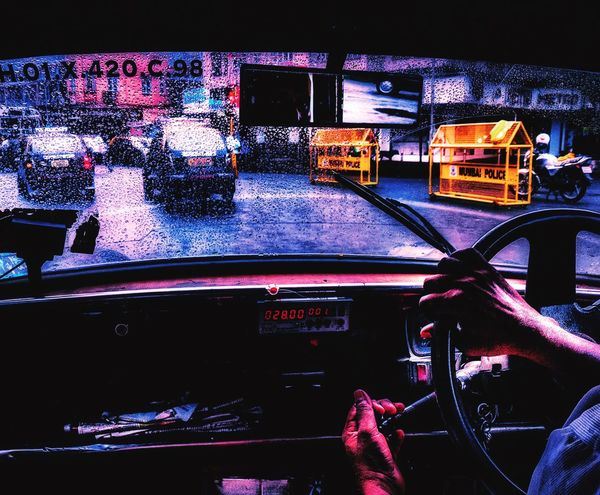 Car Mode Of Transport Transportation Land Vehicle Road Travel Vehicle Interior Night City Traffic Illuminated Dark Building Exterior Architecture Multi Colored Journey City Life Canal