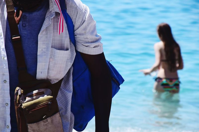 Sea Men Water Young Women Women Happiness Midsection Close-up Horizon Over Water Beach