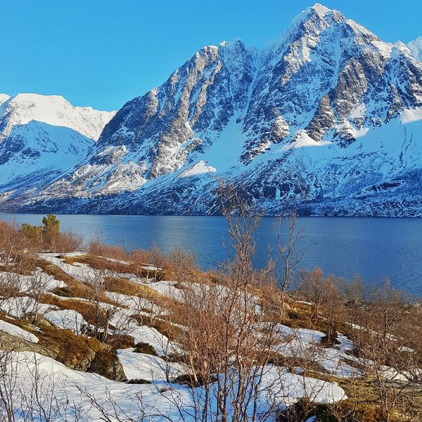 Water Mountain Snow Cold Temperature Mountain Range Scenics Beauty In Nature No People Blue Snowcapped Mountain Sky Winter Outdoors Landscape Tromsø Northern Norway Arcticcircle Lyngen Alps Lyngen