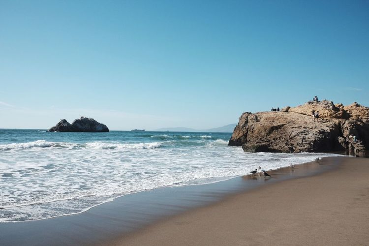 San Francisco Ocean Beach Rock - Object Horizon Over Water Beauty In Nature Blue Wave Sky No People