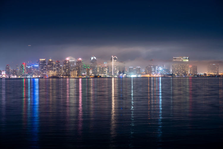 Downtown san diego skyline on a foggy night