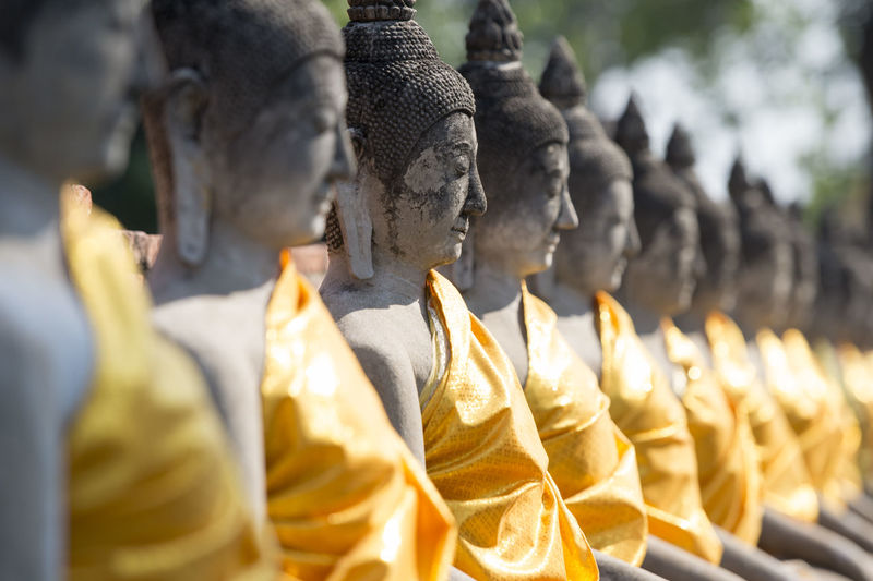 Buddha Statues In Row At Wat Yai Chai Mongkhon