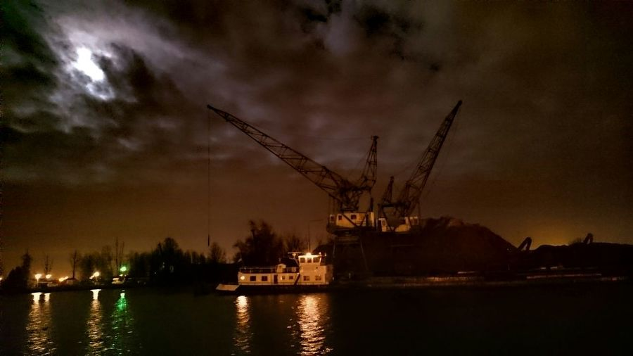 Night Photography, Reflections in Water, Full Moon in Harbour