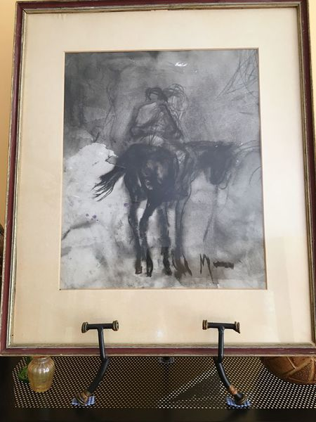 Home Is Where The Art Is Not A Copy Animal Lovers Portrait Originals Gift Charcoal Charcoal Drawing Man On Horseback