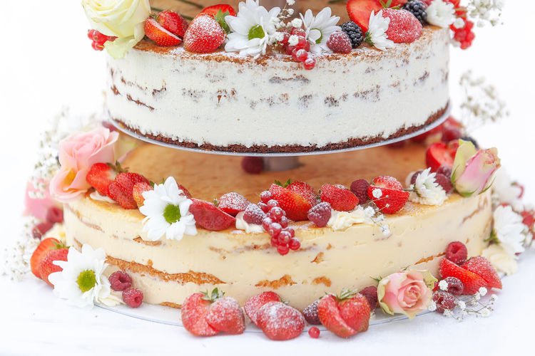 Various fruits on cake