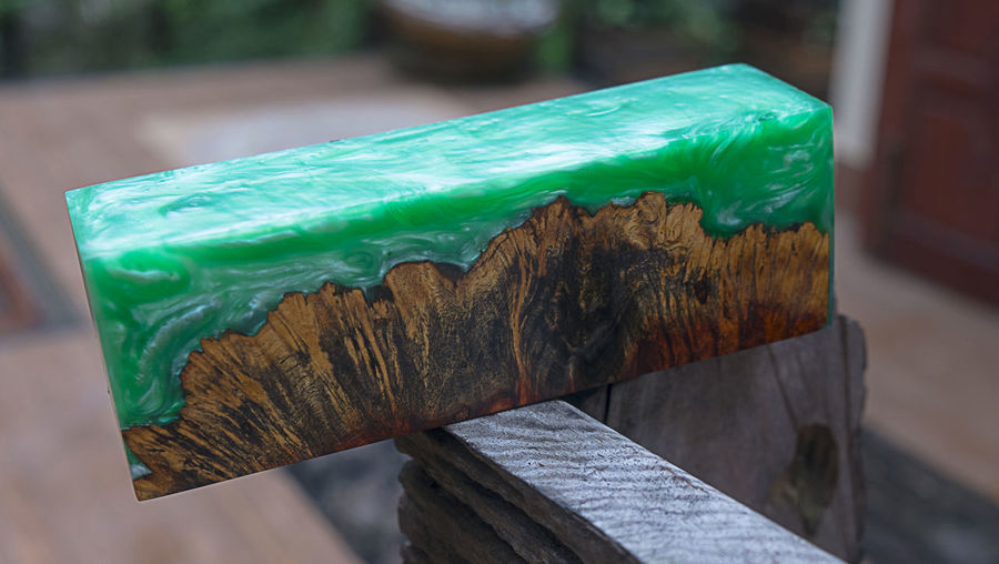 Close-up of multi colored wood on table