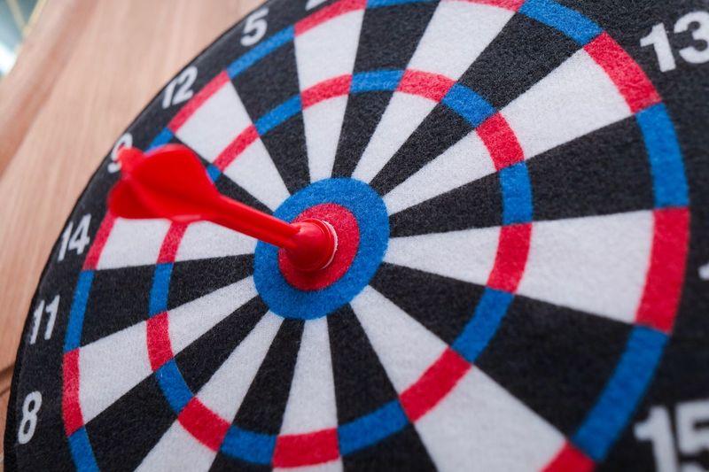 Close-up of multi colored dartboard