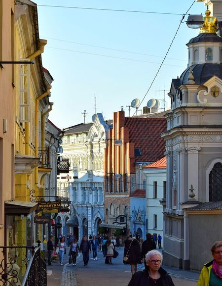 Travel Destinations Summer Building Exterior Sky Architecture Street City Walking Day Road Urban Skyline Tourism Travel Lifestyles Sun Vilnius,