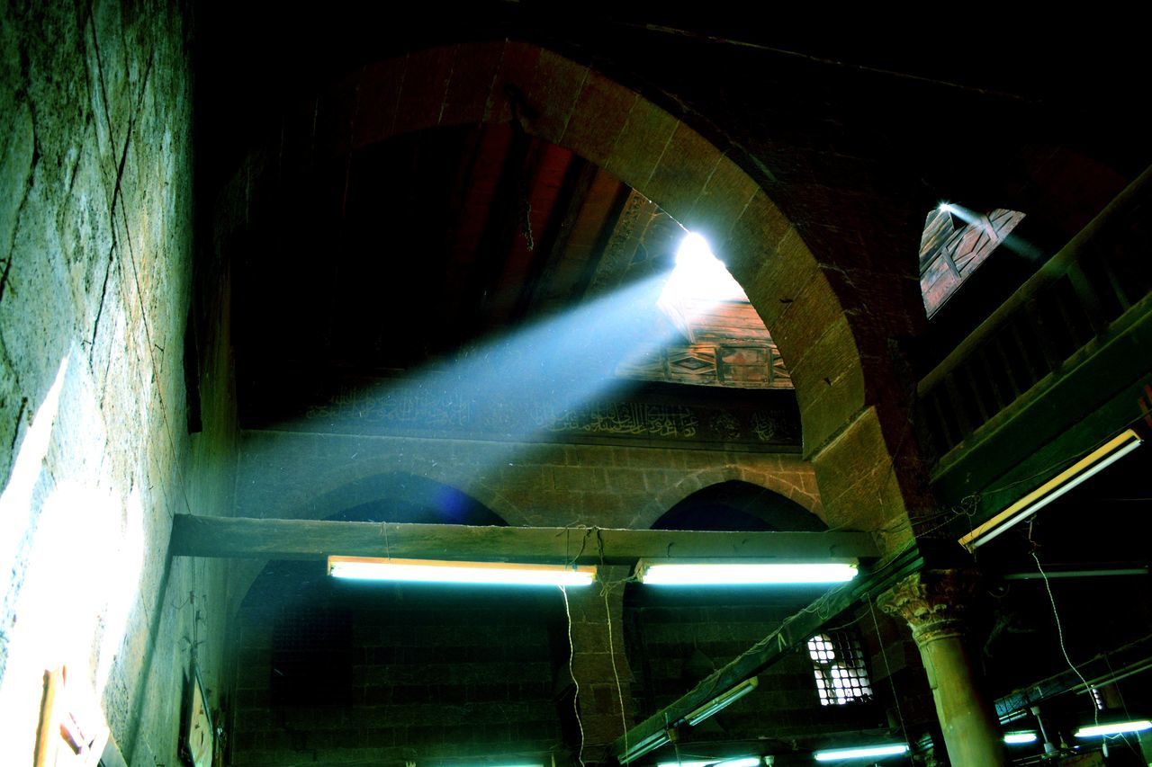 architecture, built structure, illuminated, low angle view, building exterior, no people, night, connection, bridge, outdoors, transportation, bridge - man made structure, building, arch, lighting equipment, nature, architectural column, tunnel, ceiling