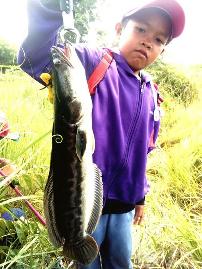 Child Children Fish Fishing Snakehead Fish Casual Clothing Outdoors Day One Person People Happiness Grass Smiling Real People Males  Nature Children Only Human Hand Adult Freshness