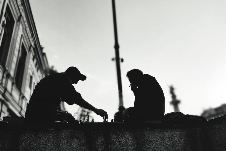 Street chess Two People Only Men People Men Silhouette Adult Togetherness Outdoors Headwear Adults Only Army Soldier Sky Day City Tbilisi Georgia Chess Game Bw_collection BW_photography Black And White Black And White Friday Adventures In The City