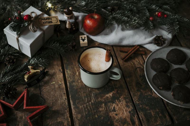 Drink Christmas Decoration Indoors  High Angle View Christmas No People Wood - Material Christmas Ornament Decoration Coffee - Drink Cup Holiday Mug Cinnamon Style Gift Xmas Holiday Moments