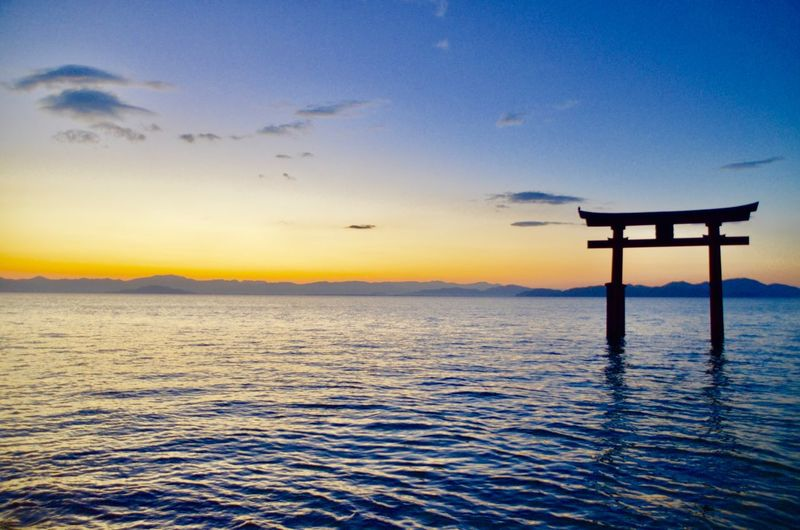I went to there to take sunset photo. This one is masterpiece on that day photos! Beautiful Shiga,Japan Japan EyeEmNewHere Water Sunset Sky Sea Beauty In Nature Nature No People Orange Color Horizon Outdoors
