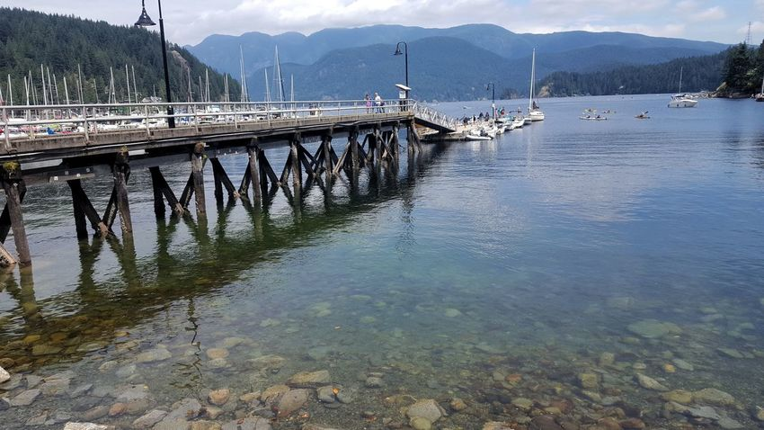 Deep Cove British Columbia, Canada Tranquility Scenics Stillness Peaceful Quiet Moments No People Nature Bridge Over Water Backgrounds Sky Clouds And Sky Water Mountain Peaks Outdoors Nature Boats View Mountain Clear Waters Refraction