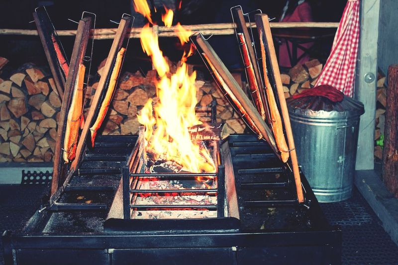 Fire On Barbecue Grill At Night