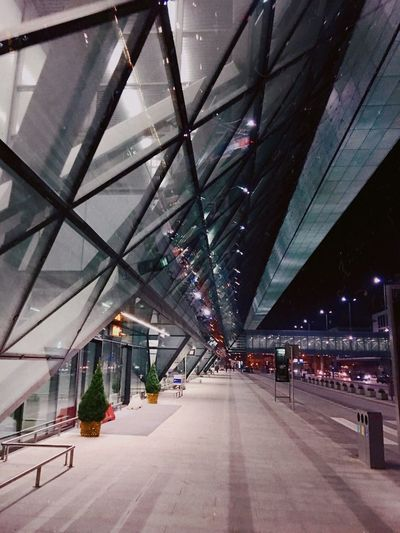 Architecture Built Structure Building Exterior Modern City Outdoors Road No People Sky Illuminated Night Airport Street