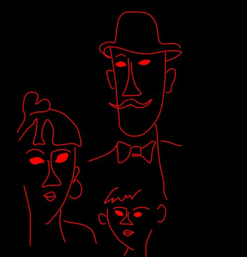 Les Epoux Heureux: a Year and a Half Later - Imitation of the Modigliani / Sketch Draw and other Eyeemtags: Red Black Background Neon Illuminated Night No People Pencil Drawing Sky My Year My View