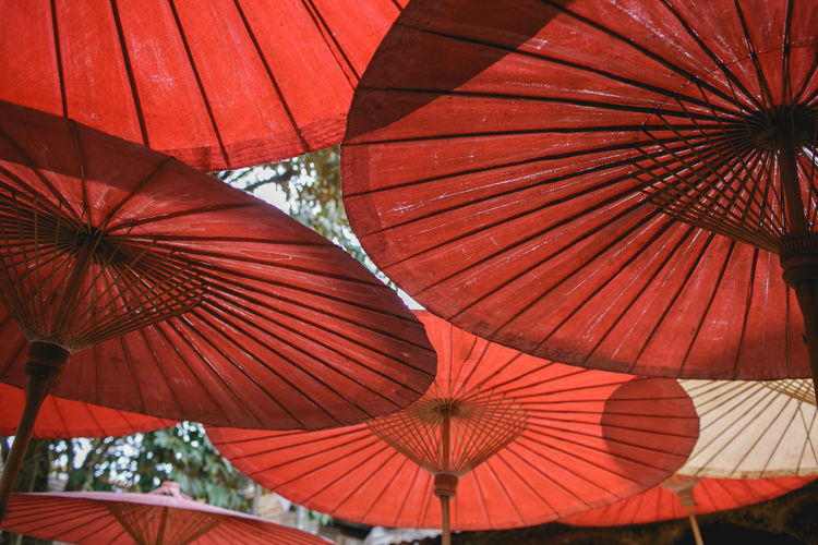Day Lanna Low Angle View No People Northern Thailand Outdoors Protection Red Relaxing S Shelter Umbrella